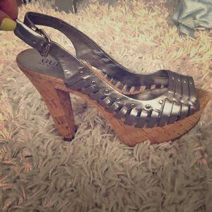 GUESS heels metallic grey with studs.